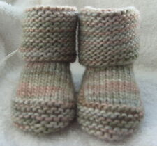 Hand knitted baby bootees/booties/socks beige, light brown, green wool and silk