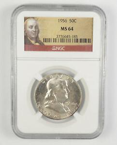 MS64 1956 Franklin Half Dollar - 90% SILVER - NGC Graded *719