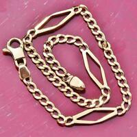 """14k yellow gold 8.0"""" fancy link chain bracelet Italian vintage handmade 4.5gr"""