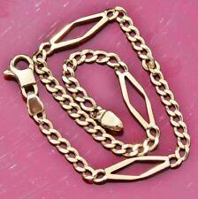 """14kt yellow gold 8.0"""" fancy link chain bracelet Italian vintage handmade 4.5gr"""