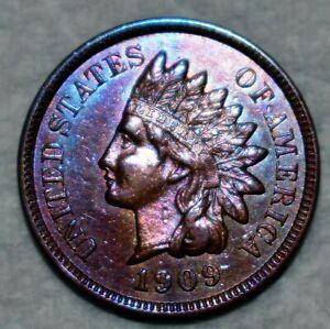 AU-UNC 1909-S Indian Head Cent, Sharp, Key-Date specimen!