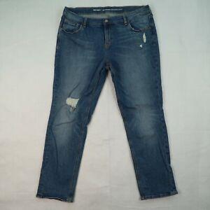 OLD NAVY Boyfriend Straight Droit Size 14 Light Wash 2-Tone Raw Hem Denim Jeans