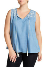 NWT Blu Pepper 3X Women's Sleeveless Blue Top Shirt Embroider Tank Tunic