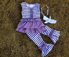 Boutique girls outfit,ruffle pants,chunky bead,bowknot valentines purple 12-18m