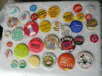 Lot of 35  Vintage Pin Backs Disney,Smokey Desert Storm Carter/Mondale etc.