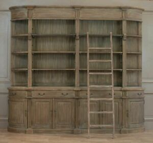 Classical Extra Large Double Bookcase in White Cedar Wood With Ladder