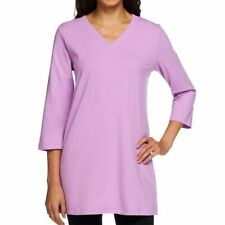Denim & Co. Essentials 2X Medium Violet Perfect Jersey 3/4 Sleeve V-Neck Tunic