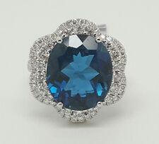 14k White Gold 10.08TCW Diamond & London Blue Topaz Halo Engagement Ring Size6.5