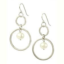Sterling Silver Double Link with Dangling Pearl Earring