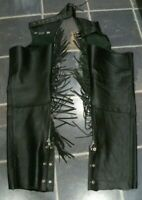 Slightly Used Leather Rider Black Leather Unisex Motorcycle Chaps Size Small