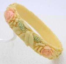 VTG Carved Celluloid Rose Daisy Pastel Floral Flower Pattern Bangle Bracelet