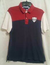 Tommy Hilfiger Polo Shirt Size Adult Large Red Blue Shield Custom Fit Rugby Mens
