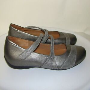 ZIERA XRAY MARY JANES SILVER LEATHER COMFORT WALKING SHOES 42W / 11.5W   DB4