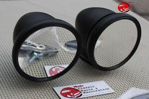 "Carbon Flat Black Side Outside Shelby GT Talbot 4"" Bullet Sports Mirrors Custom"