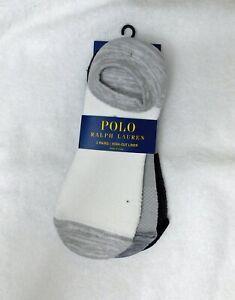 F245 Polo Ralph Lauren Gray Women's 3-pk No Show Socks