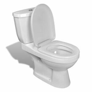 vidaXL Inodoro con Cisterna Blanca Set Completo + Asiento WC Pared Cerámica Recr