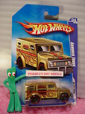 2009 i Hot Wheels ARMORED TRUCK #110/166~Gold w/Red Burnerz∞HW City Works