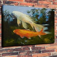 Art Canvas Print, Oil Painting Koi Carp Fish Ripples on Water Home Decor 16x20