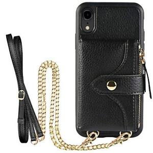 iPhone XR Wallet Case Stylish Crossbody Leather Card Holder Zipper Pocket Black