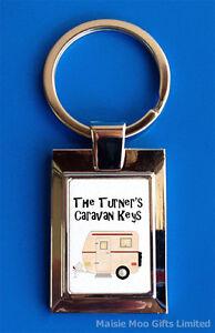 Personalised Caravan Van Keys Metal Keyring New Boxed