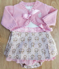 Girl's Size 0-3-6 M Month 3 Pc Rocawear Pink Pleated Ribbon Dress, Cardigan DC