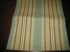Beautiful Table Runner Stripes Green Tan Brown Beige 13x70 NEW