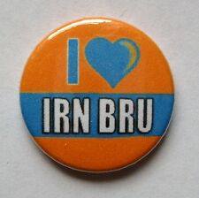 I LOVE IRN BRU - 1 inch / 25mm Button Badge - Heart Barr Iron Brew Novelty