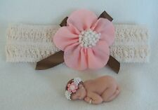 2.5 Polymer Clay Matching Doll Baby & Headband, Coral/ Br ~ Great Photo Prop