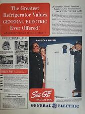 1940 Genera Electric GE Refrigerator Conditioned Air Military Uniform Man Ad