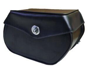 108L Lockable Motorcycle Tek Leather Saddlebags Harley Universal Fit Finn moto