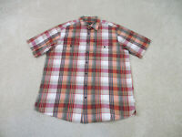 Eddie Bauer Button Up Shirt Adult Large Orange Green Plaid Casual Mens B25