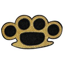 Wholesale Lot Of 10 Brass Knuckles Iron On Biker Applique Patches