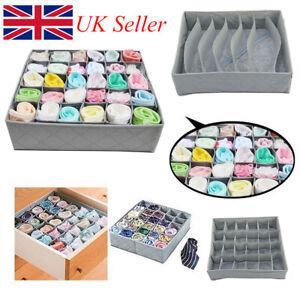 3 x Foldable Underwear Bra Fabric Socks Box Storage Organiser Drawer Dividers B