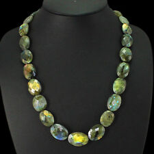 SUPERB 499.40 CTS EARTH MINED RICH  LABRADORITE OVAL FACETED BEADS NECKLACE
