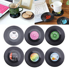 6PCS Cup Mat Round Vinyl Coaster Groovy Record  Drinks Holder Placemat Tableware