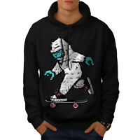 Wellcoda Monster Skateboard Mens Hoodie, Crazy Casual Hooded Sweatshirt