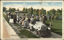Chicago IL Fadgl Auto Miniature Amusement Park Train Lincoln Park Postcard