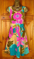 NEW DOROTHY PERKINS LADIES YELLOW GREEN PINK BOLD FLORAL PRINT SUMMER SUN DRESS