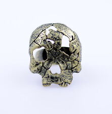 vintage punk goth style bronze coloured patched skull ring, cool goth gear