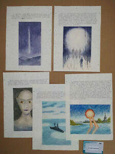 UFOs Observations SAMIZDAT - 5 N.Potapov USSR Drawings Extremely Rare Art 1990