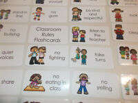 23 Classroom Rules Flash Cards.  Preschool thru 4th grade behavior flash cards.