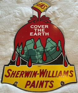 VINTAGE SHERWIN WILLIAMS PORCELAIN SIGN COVER THE EARTH GAS OIL WET PAINT GRACO