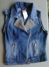 NWT Rue 21 Denim Jeans Vest size Small Juniors Misses Zipper Studs