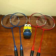 Franklin Sports 4 Player Badminton Racquet Set. Red and Blue
