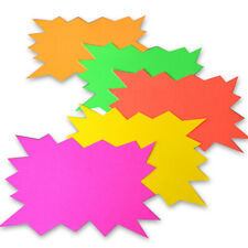 5 x A4 Neon Flash Cards - Fluorescent Luminous Dayglo Price Tag NEW