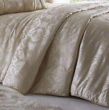 Sandringham Ivory Gold Quilted Comforter Throwover Damask Jacquard Bed Bedspread