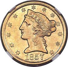 1857-D Liberty Half Eagle, AU55 NGC