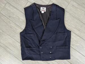 vintage USA made WAISTCOAT wool XL lapel STEAMPUNK civil war VEST prairie blue