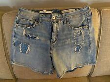Anthropologie Pilcro Slim Boyfriend Patchwork Distressed Denim Shorts Size 28