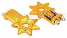 """BMX bicycle star spur chain tensioners tensioner for 3/8"""" axles (PAIR) - GOLD"""